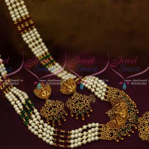 4 Line Pearl Mala Broad Temple Matte Gold Plated Traditional South Jewellery Designs Online