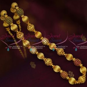 Ruby Emerald AD Stone Golden Beads Floral Caps Beaded Gold Plated Jewellery Set Shop Online