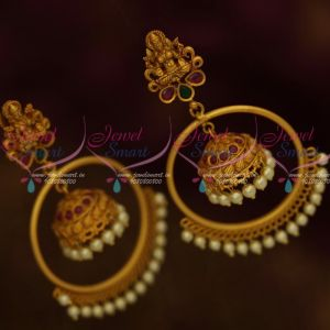 Matte Gold Fashion Jewellery Temple Big Ring Jhumka Pearl Drops