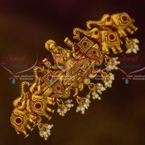 Temple Gajalakshmi Jewellery Matte Gold Plated Red Stone Hair Clip Matching Ornaments Online