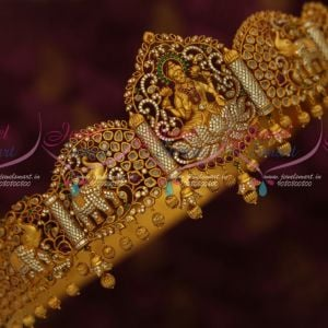 33-42 Inches Bridal South Indian Jewellery AD Oddiyanam Temple Nakshi Matte Antique Reddish Gold Online