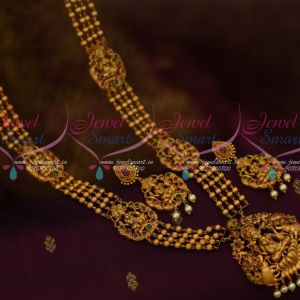 4 Line Beads Design Mugappu Temple Haram Traditional Matte Reddish Gold Designs Shop Online