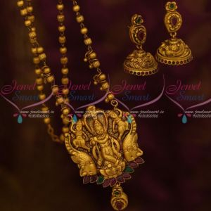 Lord Krishna Ruby Emerald Antique Temple Jewellery Beads Mala Nagas Pendant Jhumka
