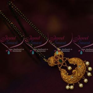 Matte Gold Plated Nakshi Peacock Red Green 2 Line Mangalsutra Black Beads Mala Online