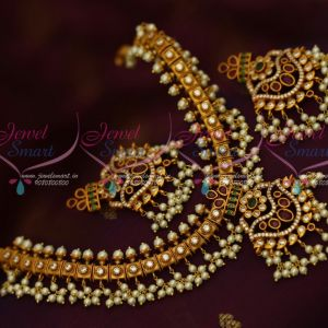 Gutta Pusalu Pearl Danglers Necklace AD Multi Colour Stones Traditional Jewelry Online