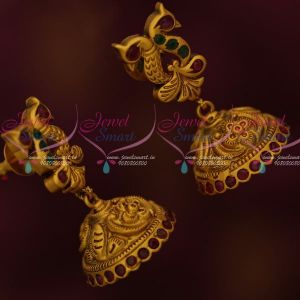 Peacock Design Matte Antique Fancy Jhumka Earrings Latest Fashion Jewelry Shop Online