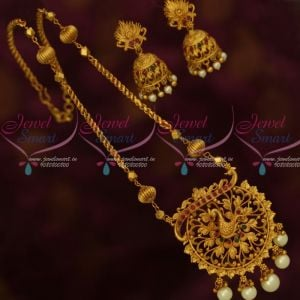 Stylish Peacock Pendant Jhumka Earrings Twisted Design Chain Matte Finish Jewelry Online