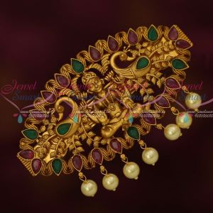 Temple Traditional Latest Jewellery Matte Gold Plated Hair Clip Red Green Stones Online