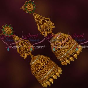 2 Layer Step Jhumka Temple Laxmi God Design Long Matte Ruby Emerald Jewelry Online
