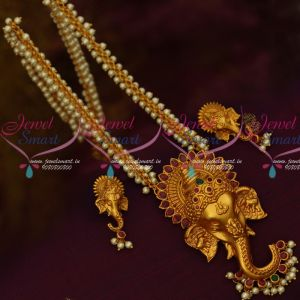 Lord Ganapathy Design 3d Emboss Big Size Pendant Pearl Link Chain Temple Jewelry Online