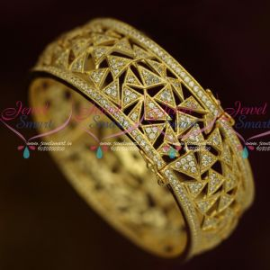 AD White Stones Jewelry Clip Open Type Kada Bangles Single Piece Broad Design Shop Online