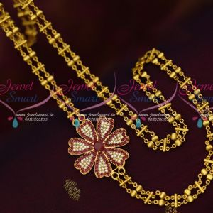 AD Ruby White Stones Mugappu Gold Covering Chain 24 Inches Rettai Vadam Fancy Online
