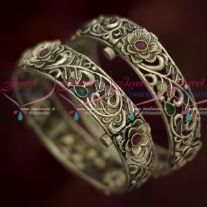 Oxidised Silver Finish Screw Floral Design Broad Bangles Latest Fashion Jewellery Online