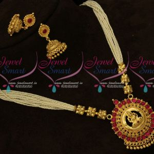 Kemp Red Hand Beaded Rice Pearls Temple Gold Plated Pendant Jhumka Earrings Online