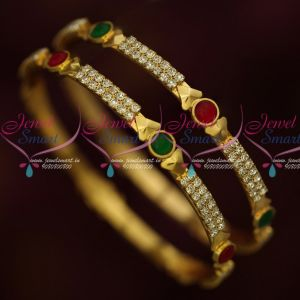 Kemp Red Green White Stones Gold Covering South Indian Jewellery Online