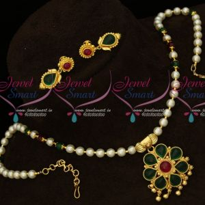 Real Kemp Stones Traditional South Indian Pendant Pearl Beads Mala Online