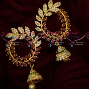 Fancy Leaf Design AD Chandbali Latest Imitation Jewellery Designs Online