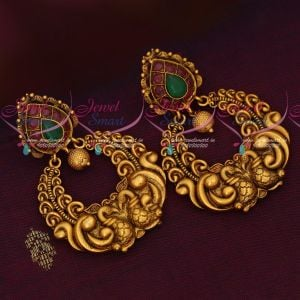 Peacock Design Ruby Emerald Nakshi Chand Bali Antique Jewellery Online