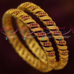Ruby Emerald Leaf Design AD Gold Covering Daily Wear Bangles Online  Width of each bangle is 6 mm Photograph is magnified and not actual size. Bangle size can be chosen using the drop down menu near add to cart button.  For daily wear, the colour life will last from 3 months to one year. For occasional wear, the colour life will last much longer To be maintained inside a plastic cover or box while unused. For more designs of similar jewellery, please visit the link here.....