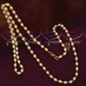 Pearl Chain Floral Caps Design 24 Inches Gold Plated Mala Online