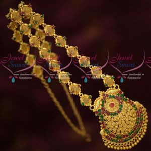 South Indian Jewelry Bright Gold Covering Net Emboss Haram Traditional Designs
