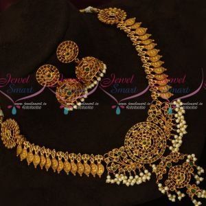 Original Kemp Stones Temple Laxmi Intricately Carved Coin Necklace Online