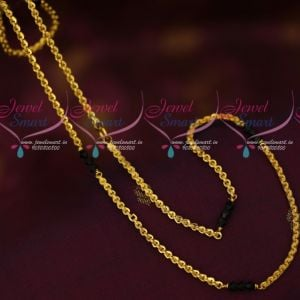 Gold Plated Black Crystal Beads Chain Traditional Design Daily Wear Jewellery Online