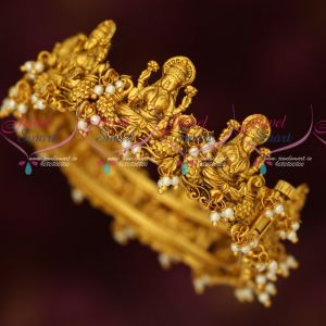 Temple Jewellery Pearl Danglers Gold Plated Antique Kada Bangles Screw Open