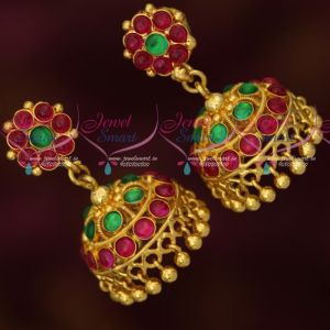 Original Kemp Stones South Indian Screw Traditional Jhumka Earrings Gold Plated Online