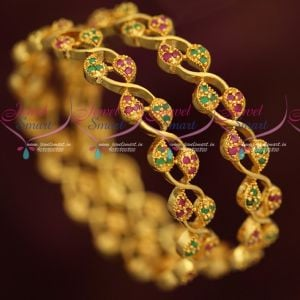 Ruby Emerald Stones Micron Plated AD Bangles Traditional Mango Design Online