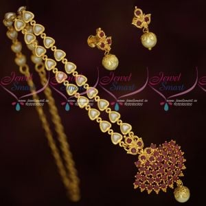 Fancy Pearl Chain Attiga Pendant Screw Lock South Indian Gold Covering Jewellery Online