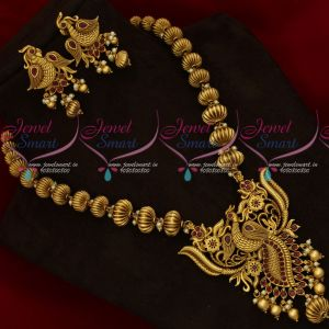 Antique Gold Plated Broad Big Size Kharbuja Beads Peacock Pendant Set Online