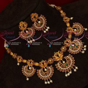 Chand Bali Necklace Matching Earrings Latest Matte Antique AD Jewellery Online