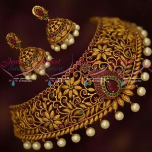 Antique Bridal Jewellery Broad Choker Latest Fashion Designer Collections Online