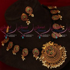Black Thread Necklace Peacock Pendant AD Ruby Emerald Stones Online