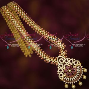 Gold Plated Long Necklace American Diamond Ruby White Latest Design