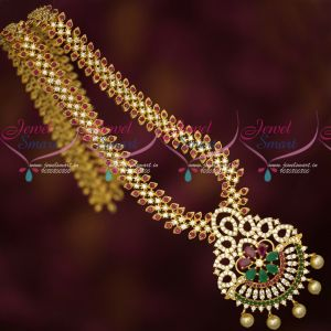 Gold Plated Long Necklace American Diamond Ruby Emerald White Latest Design