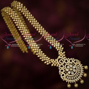 AD Sparkling White Stones Gold Plated Long Necklace Wholesale Price Jewellery