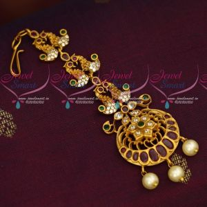 Peacock Design Matte Gold Finish Short Maang Tikka New Jewellery Collections