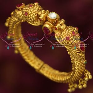 Antique One Gram Gold Hollow Peacock Design Kada Bracelet Openable Type
