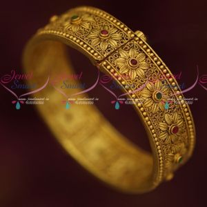 Floral Design Intricately Designed Antique Gold Plated Single Piece Bangle Latest Designs