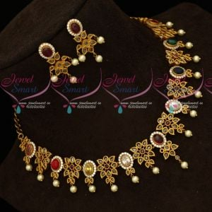 Gold Design Antique Matte Navratna Color Necklace Set Latest Traditional Jewellery
