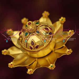 Lotus Design Broad Gold Design One Gram Sindoor Box Kum Kam Barina