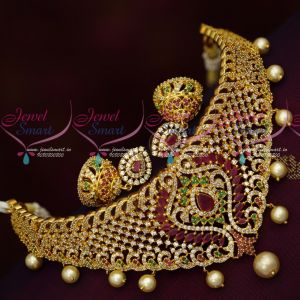 Stylish Grand American Diamond Choker Jhumka Earrings Latest Imitation Designs