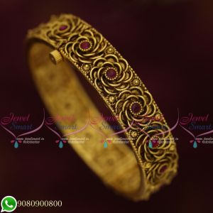 Antique Gold Plated Jewellery Floral Design Bangles Screw Open Latest