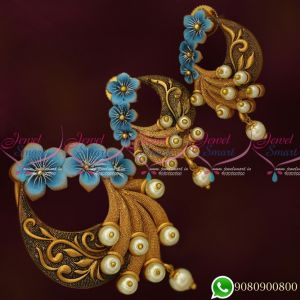 Blue Hand Painting Colourful Antique Gold Design Jewellery Pendant Set Online