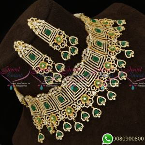 American Diamond Green Dazzling Jewelry Enamel Colour Fusion Bridal Choker Necklace Online