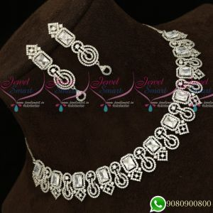 Silver Plated Diamond Finish Fashion Jewellery Semi Precious Stones