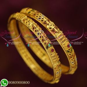 Forming Jewellery 2 Pcs Lightweight Gold Design Casual Wear Bangles Collections