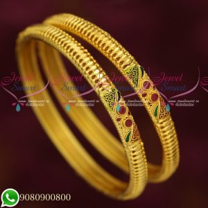 Daily Wear Trendy Gold Covering South Indian Jewellery Bangles Designs Online